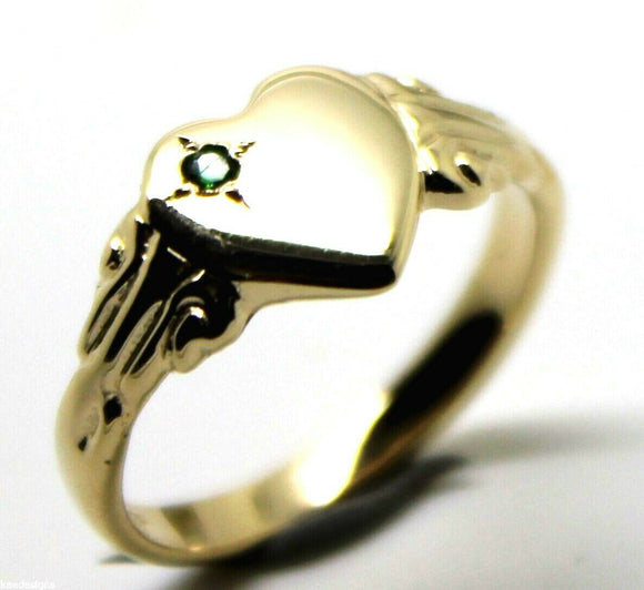 231 May Birthstone 9ct Solid Yellow, Rose or White Gold/375 Green Emerald Stone Heart Signet Ring