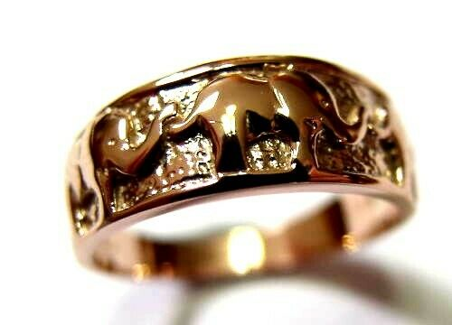 Size K Genuine New 9ct 9kt Full Solid Yellow, Rose or White Gold Lucky Elephant Ring 209