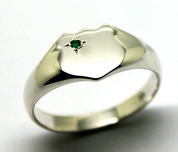 Kaedesigns New Size V Large Sterling Silver Shield Green Emerald Signet Ring