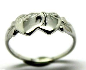 Size M Lightweight 9ct 9k White Gold Double Heart Signet Ring - Free express post
