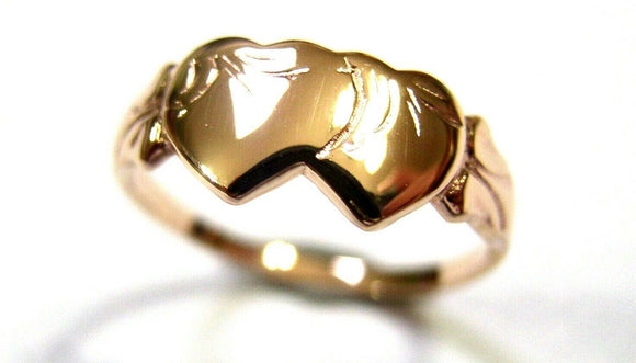 Size M Kaedesigns, Solid New 9ct 9kt Rose Gold Double Heart Signet Ring