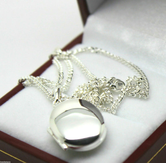 Sterling Silver Oval Locket Pendant 2 Photos & 55cm Silver Chain *Free Express