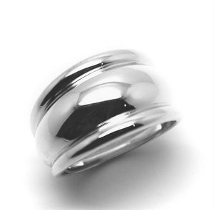 Genuine Sterling Silver Solid Extra Large 13mm Wide Dome Ring in your size
