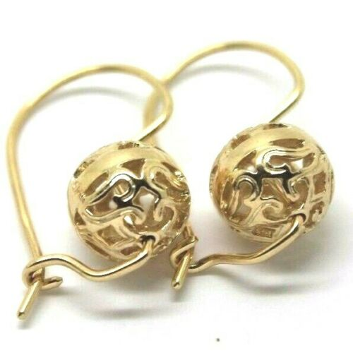 9ct Yellow Gold 10mm Euro Ball Drop Filigree Earrings *Free Express Post In Oz*