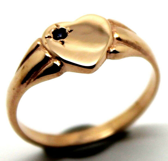 9ct Heart Rose Gold Blue Sapphire Shield Signet Ring *Free Express Post In Oz*