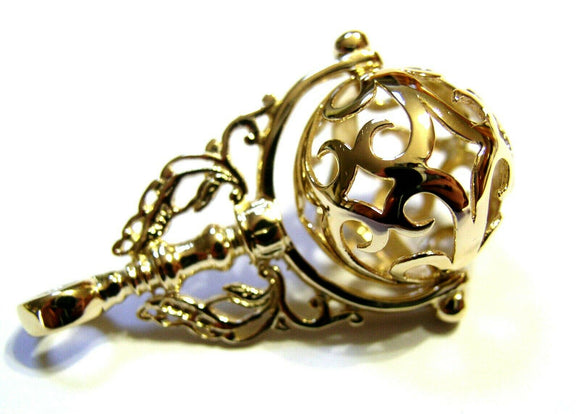 Genuine Extra Large 9ct 9kt Yellow, Rose Or White Gold Filigree Ball Filigree Spinner Pendant