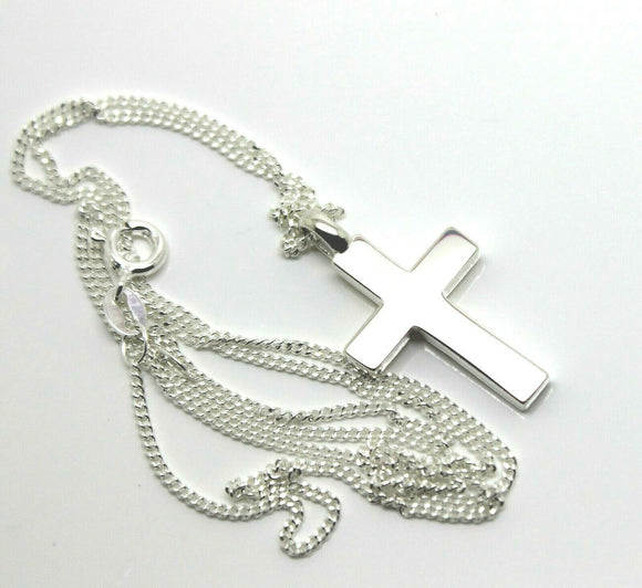 Solid New Sterling Silver 925 Plain Cross Pendant & 55cm Kerb Chain Necklace