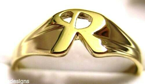 Genuine, Solid 9ct 9K Yellow Or Rose Or White Gold 375 Large Initial Ring R