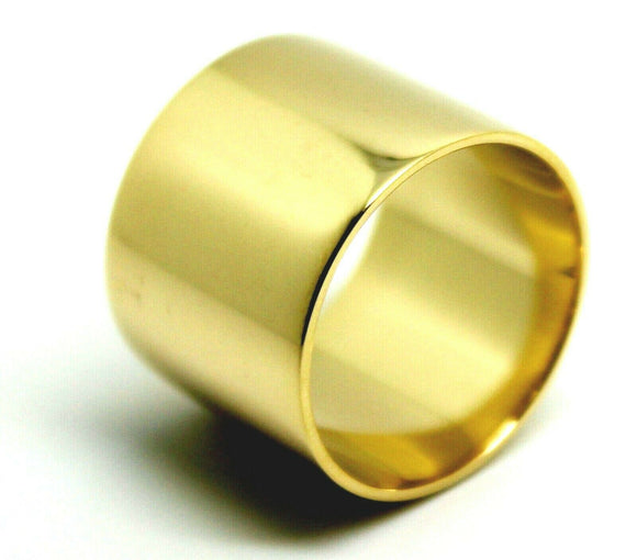 Size Q 8 9ct YELLOW GOLD FULL SOLID 16mm EXTRA WIDE BAND RING