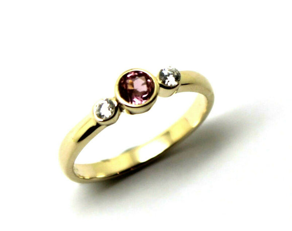 Kaedesigns, Genuine 9ct 9kt Yellow, Rose or White Gold Trilogy & Pink Tourmaline Ring