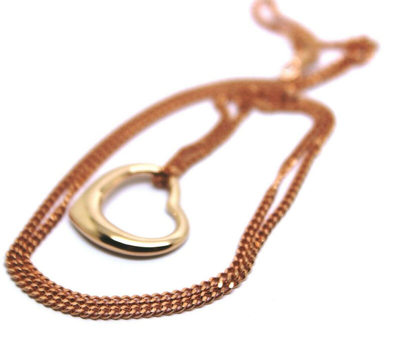 NEW 9CT 9KT ROSE GOLD / 375 BELCHER CHAIN NECKLACE 44cm + heart pendant