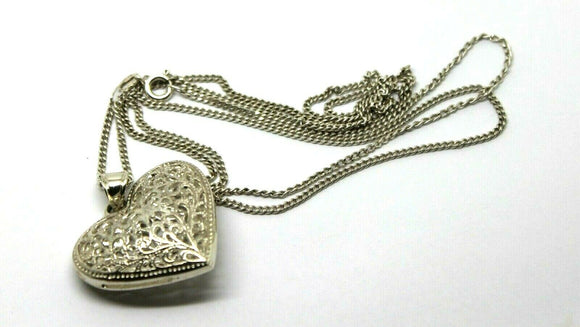 Sterling Silver Huge Filigree Heart Pendant + 70cm Chain