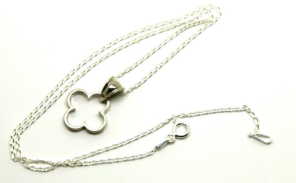 Sterling Silver Small Four Leaf Clover Pendant + Chain *Free Post In Oz