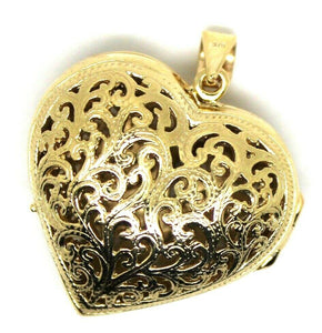 Kaedesigns 9ct 9k Yellow Gold Huge Heavy Filigree Heart Pendant Locket