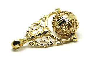Kaedesigns, Genuine 9kt 9ct Yellow, Rose Or White Gold Large Filigree Ball Spinner Pendant Sp105