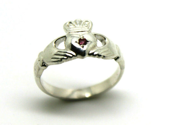 Genuine New Size L Sterling Silver 925 Ruby (Birthstone July) Claddagh Ring