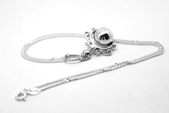Kaedesign, Sterling Silver Chain Kerb 50cm Necklace & Ball Spinner Pendant