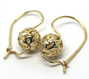 Genuine Solid 9ct Yellow, Rose or White Gold 10mm Euro Ball Drop Filigree Flower Earrings