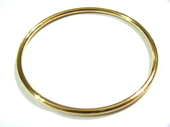 9ct 9kt FULL SOLID Heavy Yellow, Rose or White gold 3mm wide GOLF bangle 65mm inside diameter