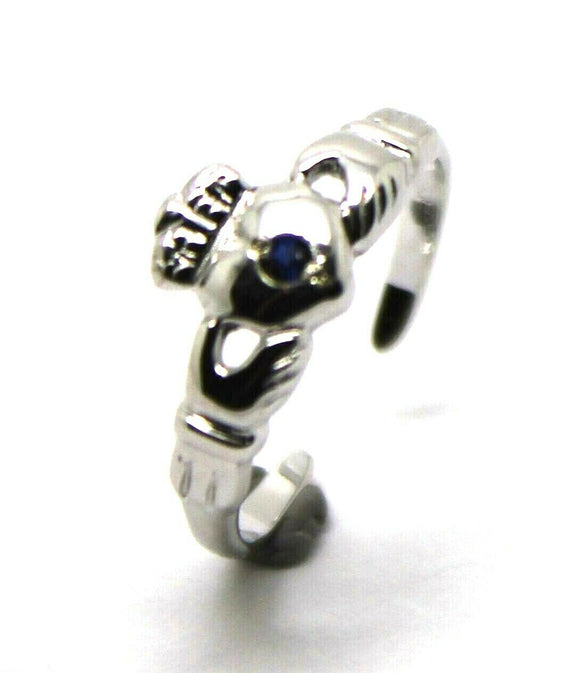 9ct White Gold Irish Claddagh Blue Sapphire Toe Ring*Free Express Post In Oz*