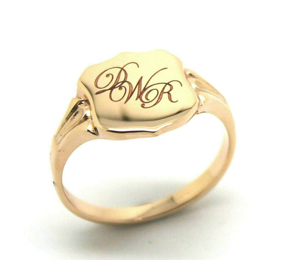 9ct Solid Rose Gold Large Signet Ring In Your Size P Plus Engraving 3 Initials