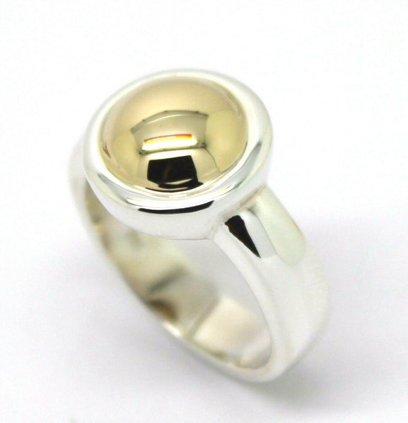 Size M Kaedesigns New Genuine Sterling Silver & 9ct Yellow Gold Half Ball Ring