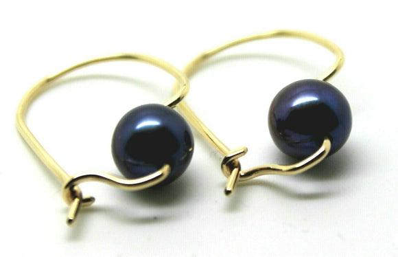 Kaedesigns New Genuine 9Ct Rose Gold 7mm Black Pearl Hook Earrings