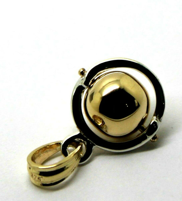 Sterling Silver & 9ct Yellow Gold Ball 8mm Ball Pendant *Free Express Post In Oz*