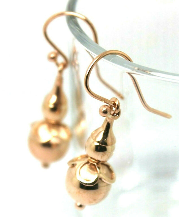 Kaedesigns New Genuine 9ct Yellow, Rose or White Gold Ball Two Ball Hook Drop Earrings
