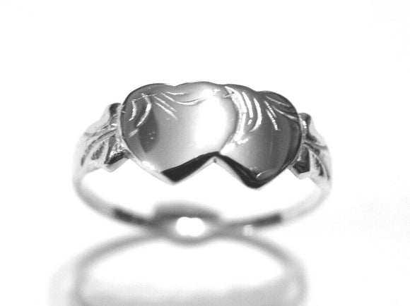 KAEDESIGNS, SOLID NEW STERLING SILVER DOUBLE HEART SIGNET RING