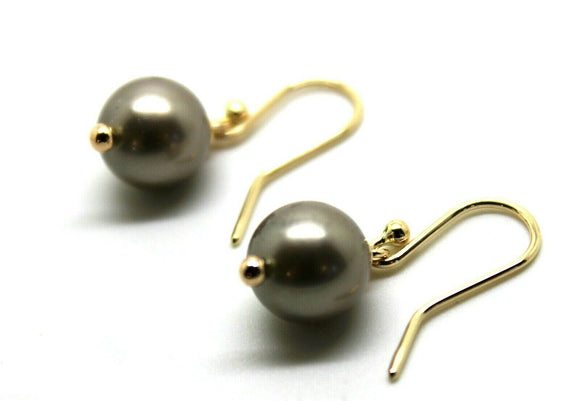 9CT YELLOW GOLD 10mm PLATINUM PEARL BALL DROP EARRINGS *FREE EXPRESS POST IN OZ