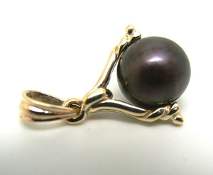 Genuine New 9ct Solid Yellow, Rose Or White Gold 10mm Black Ball Pearl Spinner Pendant