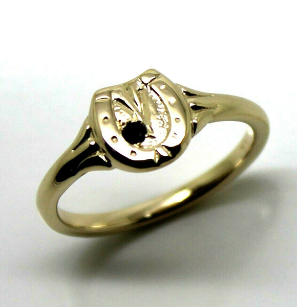 SIze O NEW GENUINE NEW 9ct YELLOW GOLD CHILDS HORSE SHOE SAPPHIRE SET RING
