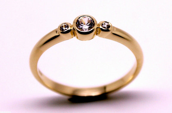 KAEDESIGNS, NEW GENUINE 9CT 9KT 375 ROSE GOLD, 375 TRILOGY RING Size 10