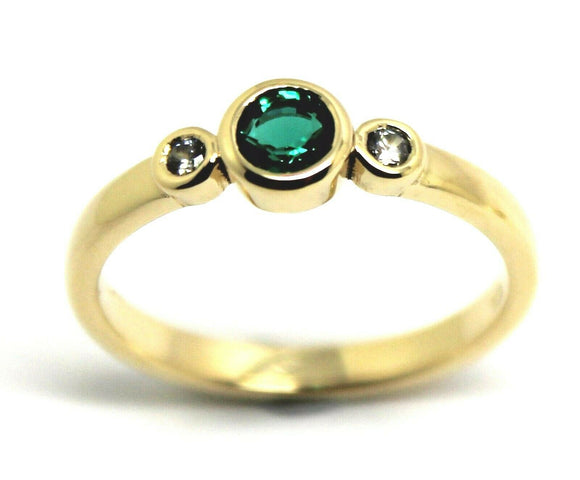 KAEDESIGNS, GENUINE 9CT 9KT YELLOW GOLD TRILOGY & EMERALD RING