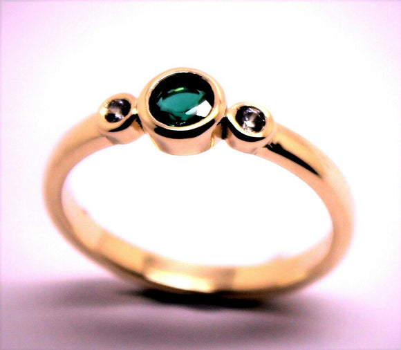 KAEDESIGNS, GENUINE 9CT 9KT ROSE GOLD TRILOGY & EMERALD RING