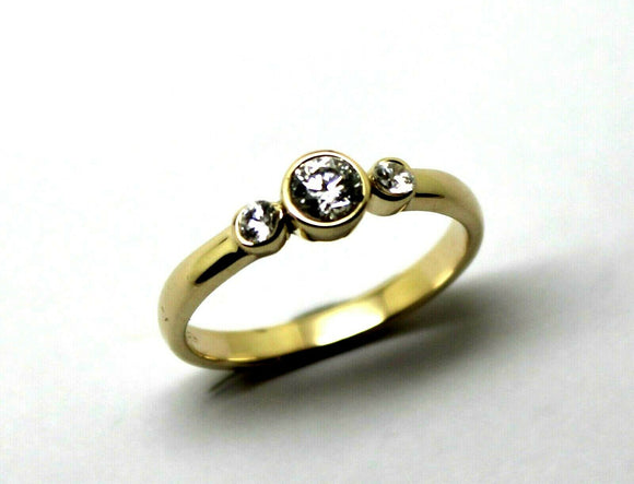 KAEDESIGNS, GENUINE 9CT 9KT YELLOW GOLD TRILOGY & CUBIC ZIRCONIA RING