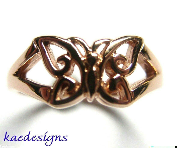 GENUINE SOLID 9CT WHITE OR ROSE OR YELLOW GOLD BUTTERFLY RING 217 Choose size
