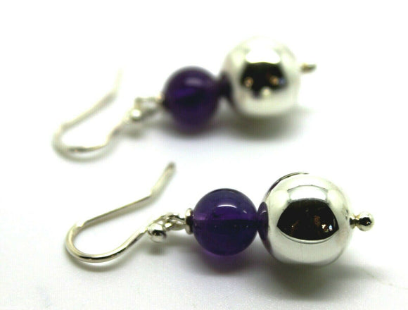 12mm Sterling Silver Ball & 10mm Amethyst Ball Earrings*Free Express Post In Oz