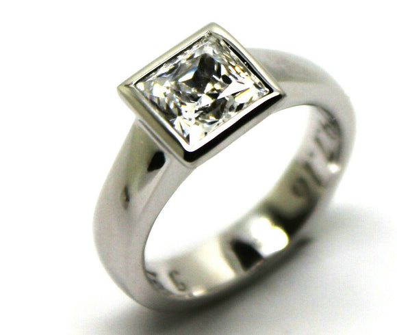 GENUINE 9ct 375 SOLID WHITE GOLD HEAVY SOLID PRINCESS CUT ENGAGEMENT RING