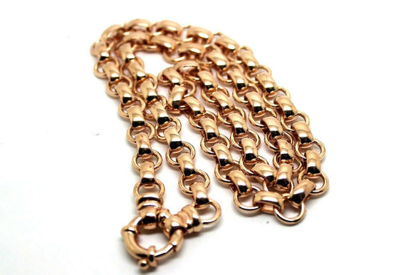 Genuine 9ct Rose Gold 375,Solid Heavy Oval Belcher Necklace Chain 60grams 60cm