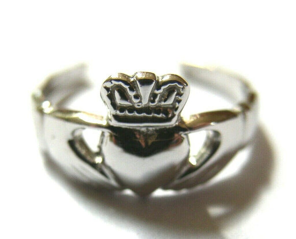 Solid Sterling Silver Irish Claddagh Toe Ring-  Free Post In Oz