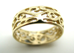 Size 8 1/4 Genuine 9ct 9K Full Solid Wide Yellow, Rose or White Gold Filigree Vine Ring 235