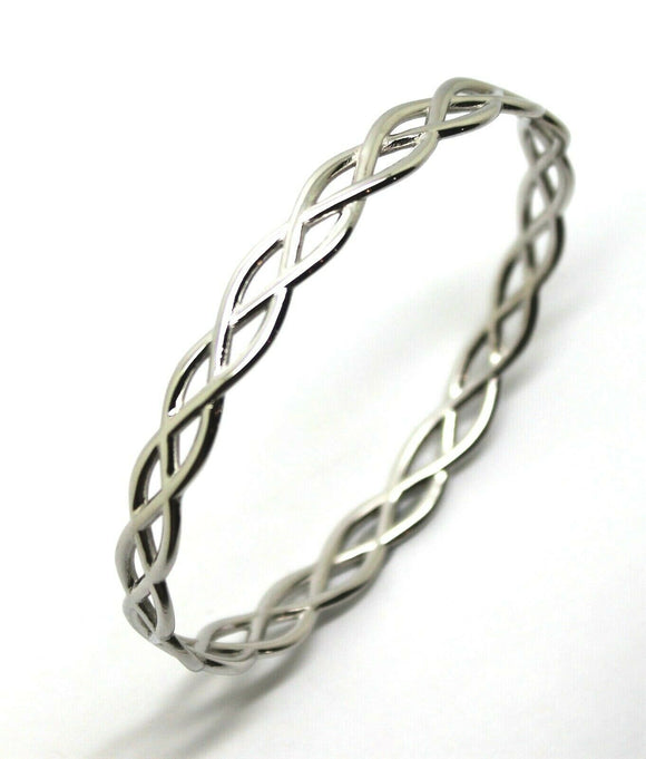 Solid Genuine 375 9ct 9kt White Gold Celtic Knot Oval Bangle  7.1cm X 5.9cm 18grams