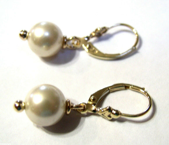 Genuine New 9ct 9Kt Yellow, Rose or White Gold 8Mm White Pearl Continental Clip Earrings