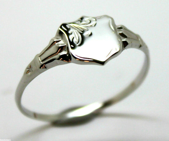 Size K - CHILDS SOLID STERLING SILVER SHIELD SIGNET RING