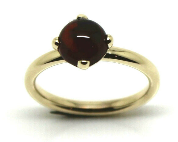 Genuine 9ct 9k Yellow Gold Cabochon Garnet Stacker Ring