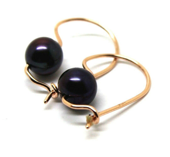 Genuine 9ct Rose Gold 375 8mm Black Pearl Hook Earrings