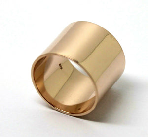 Size P Genuine Heavy 9ct Yellow, Rose or White Gold Full Solid 16mm Wide Flat Profile Band Ring