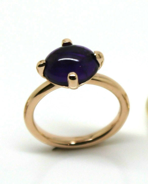 9ct Rose Gold Cabochon Oval Purple Amethyst Stacker Ring*Free Express Post In Oz